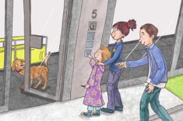 Zeichnung, Drei Personen und Hund