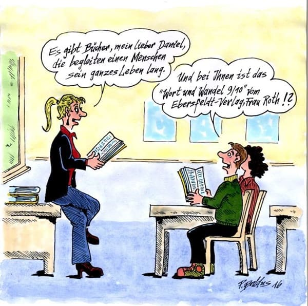 Lehrerin stellt Schüler Buch vor - Bücher begleiten