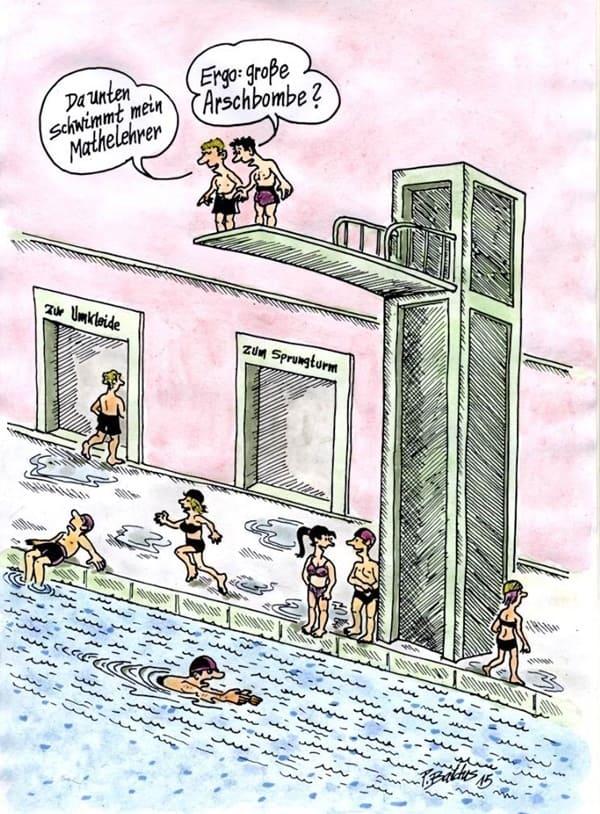 Arschbombe im Schwimmbad Cartoon