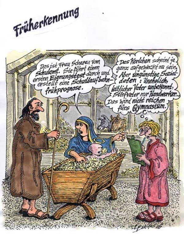 Maria, Josef, Jesus und eine Dame der Früherkennung