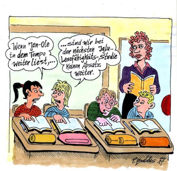 Cartoon der Woche: Lesefähigkeit | von Peter Baldus