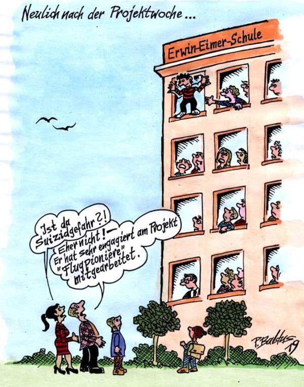 Cartoon Projektwoche von Peter Baldus