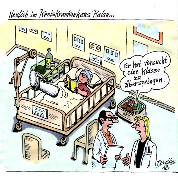 Cartoon Überspringen von Peter Baldus