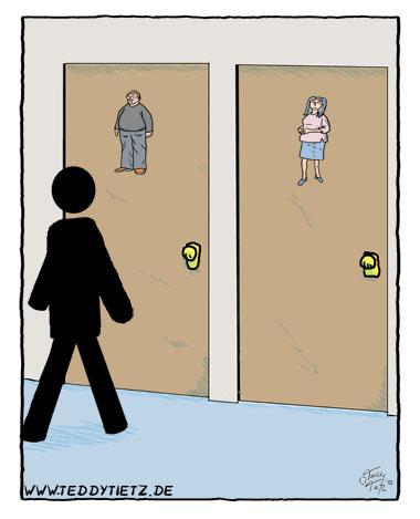Klomännlein vor Toilettentür