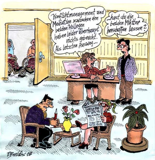 Cartoon der Woche: Konfliktmanagement | von Peter Baldus