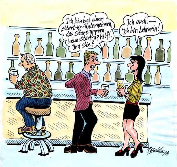 Cartoon: Start-ups treffen sich in Bar