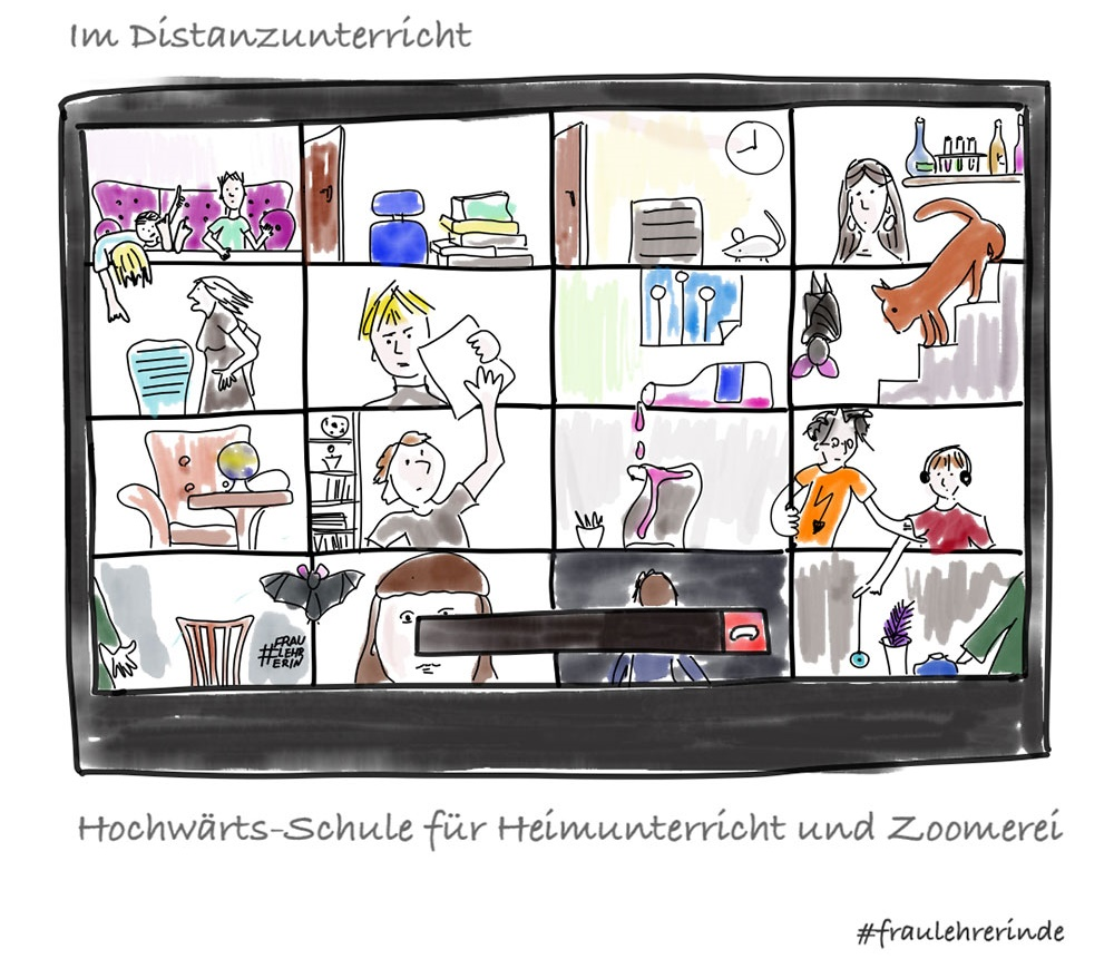 Cartoon: Hochwärts-Schule für Heimunterricht und Zoomerei