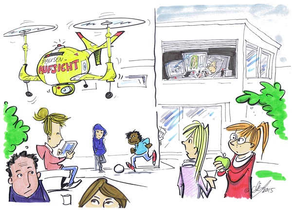 Cartoon von Michael Hüter: Aufsicht