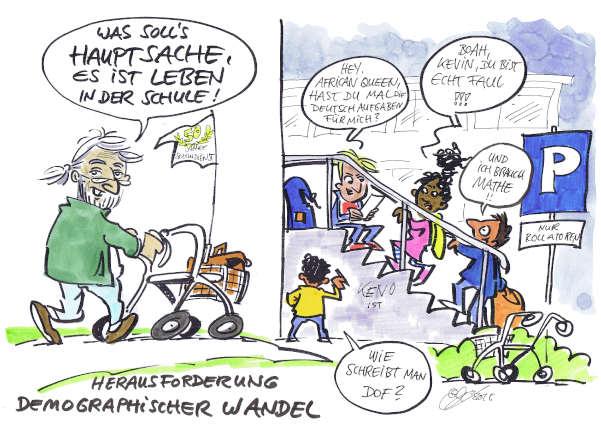 Cartoon: Demografischer Wandel als Herausforderung | von Michael Hüter