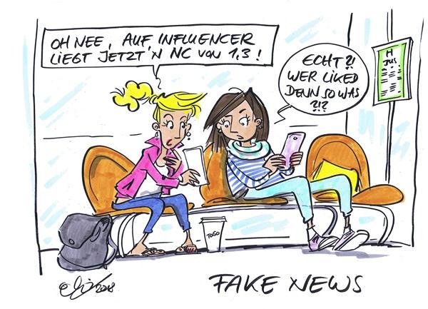 Fake News Karikatur von Michael Hüter