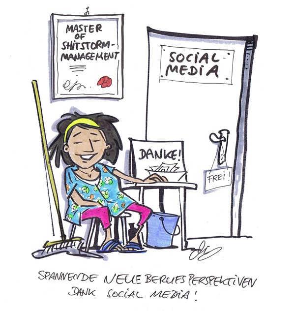 Cartoon von Michael Hüter: Shitstormmaster