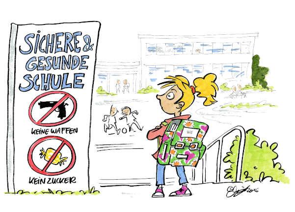 Cartoon: Sichere und gesunde Schule | von Michael Hüter