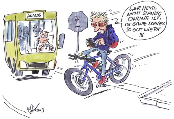 Junge fährt mit Smartphone in der Hand Fahrrad