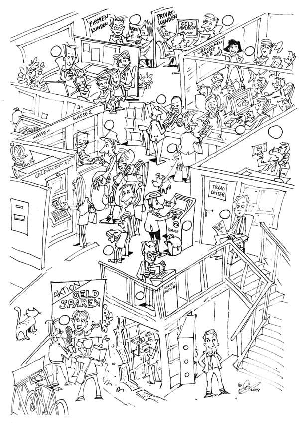 Ein Großraumbüro mit vielen Mitarbeiterinnen und Mitarbeitern