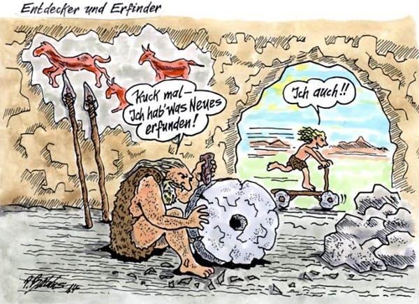 Steinzeitmenschen erfinden das Rad aus Stein