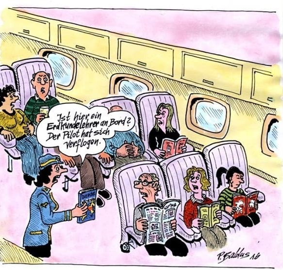 cartoon der woche erdkundelehrer pilot verfliegt sich