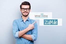 Mann zeigt auf Logos von Lehrer-Online und ZUM.de