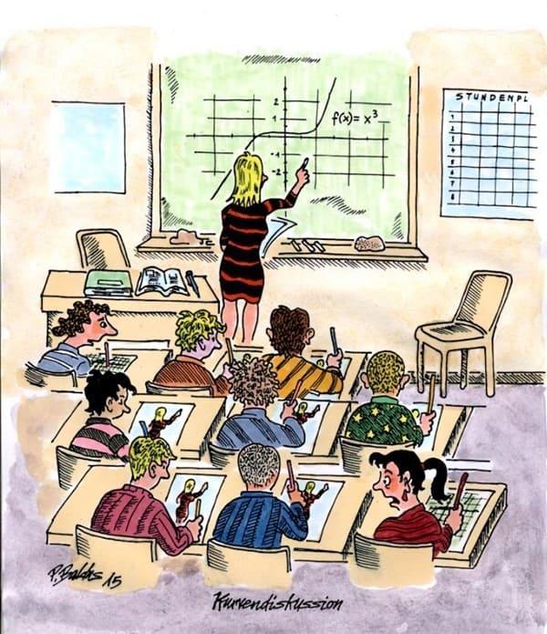 Schüler sitzen in der Klasse und malen den weiblichen Körper ihrer Lehrerin anstelle der mathematischen Kurvendiskussion
