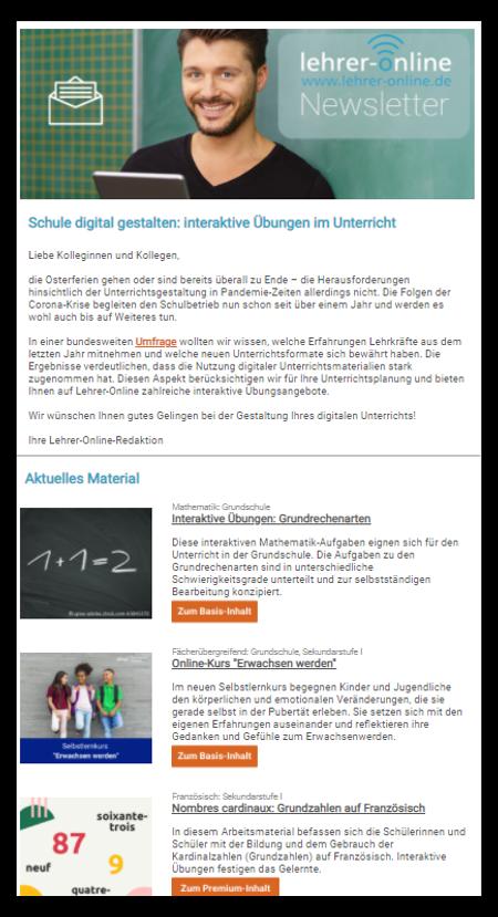Beispiel Lehrer-Online-Newsletter