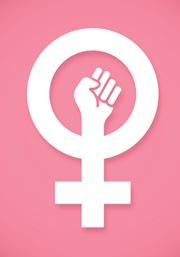 Ein rosa Hintergrund mit dem Symbol der Frauenbewegung im Vordergrund