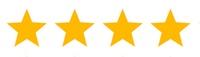 Vier gelbe Sterne auf weißem Grund - Bewertung