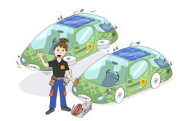 Bild des Zukunftsmobils Erik der Elektroniker