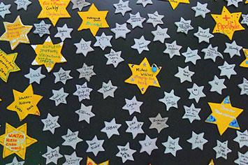 Die Sponsorentafel bei der Einweihung; Schülerlabor Astronomie, Carl-Fuhlrott-Gymnasiums Wuppertal