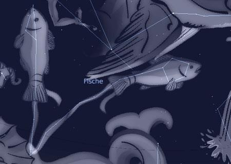 Wasserbewohner am Himmel: Fische, Ziegenfisch und andere; Sternkarte, erzeugt mit Stellarium