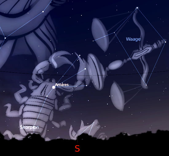 Sternbilder Skorpion und Waage (erstellt mit Stellarium)