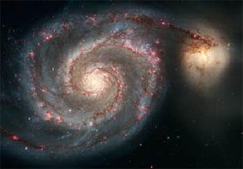 M 51 und NGC 5195, Aufnahme des Hubble-Weltraumteleskops