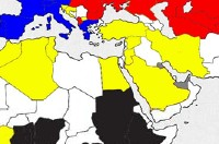 Ausschnitt einer Weltkarte mit farbig markierten Ländern