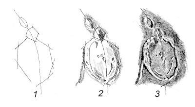 Mondkrater; Zeichnung von Josef Cukas