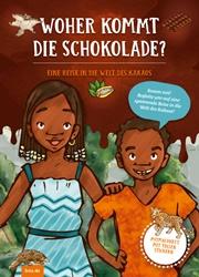 """Umschlagbild des Kinderheftes """"Woher kommt die Schokolade?"""": zwei afrikanische Kinder halten Schokolade ins Bild"""