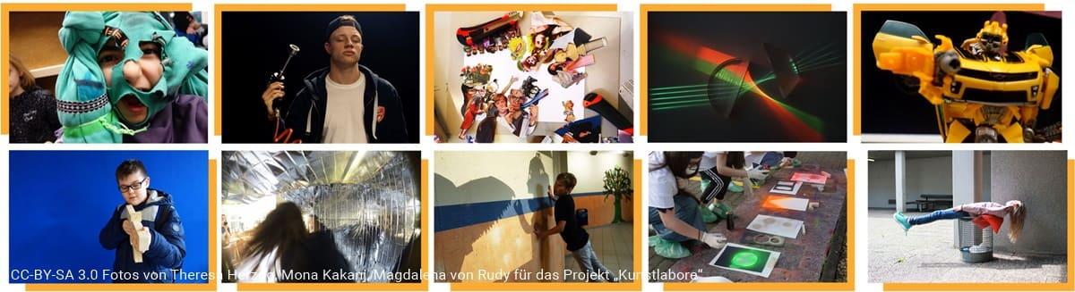 Fotos aus dem Teilprojekt KlappKLAUS des Kunstlabors Bildende Kunst