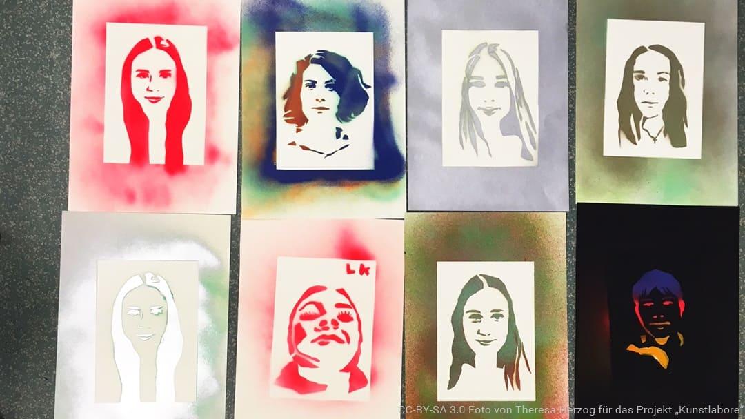 Porträts, die im Kunstlabor Bildende Kunst entstanden sind
