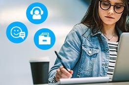 Mädchen arbeitet digital, Kommunikationsicons um sie herum