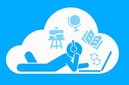 Schulcloud Icon mit einem am Laptop liegenden Männchen in der Wolke