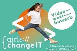 """Mädchen springt über Schriftzug """"Girls change IT"""""""