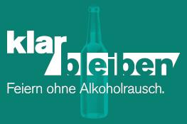 Logo von klar bleiben auf grünem Hintergrund mit weißer Schrift