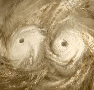Wirbelstürme auf der Venus, fotografiert von der ESA-Sonde Venus Express
