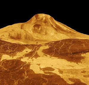 Radarbild von Maat Mons (Magellan, NASA)