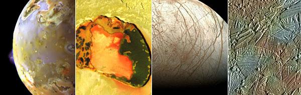 Monde und Oberflächendetails von Io und Europa, aufgenommen von der Sonde Galileo