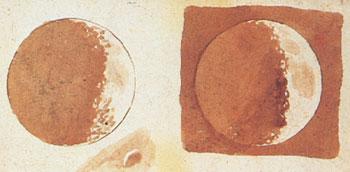 Mondskizzen von Galileo Galilei (); Quelle: Wikipedia