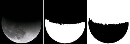 Mondfinsternis: Ausgangsfoto, Kontrastverstärkung und Invertierung