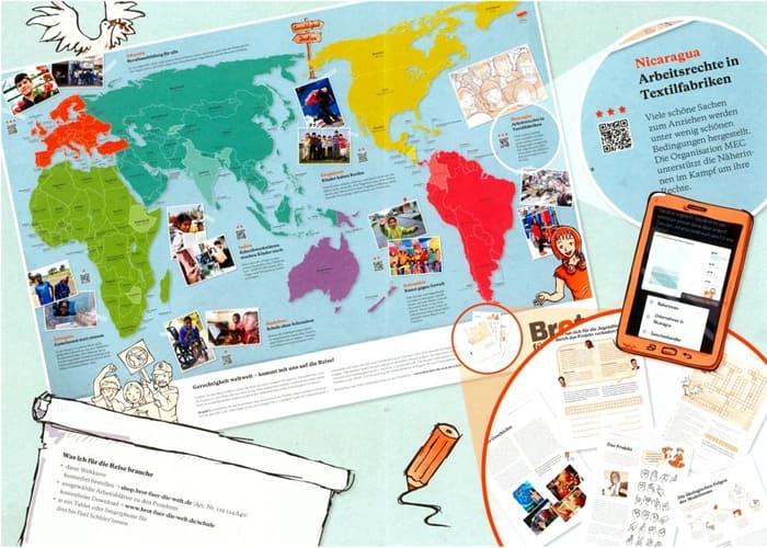 Weltkarte mit interaktiven Lernspielen für Schülerinnen und Schüler