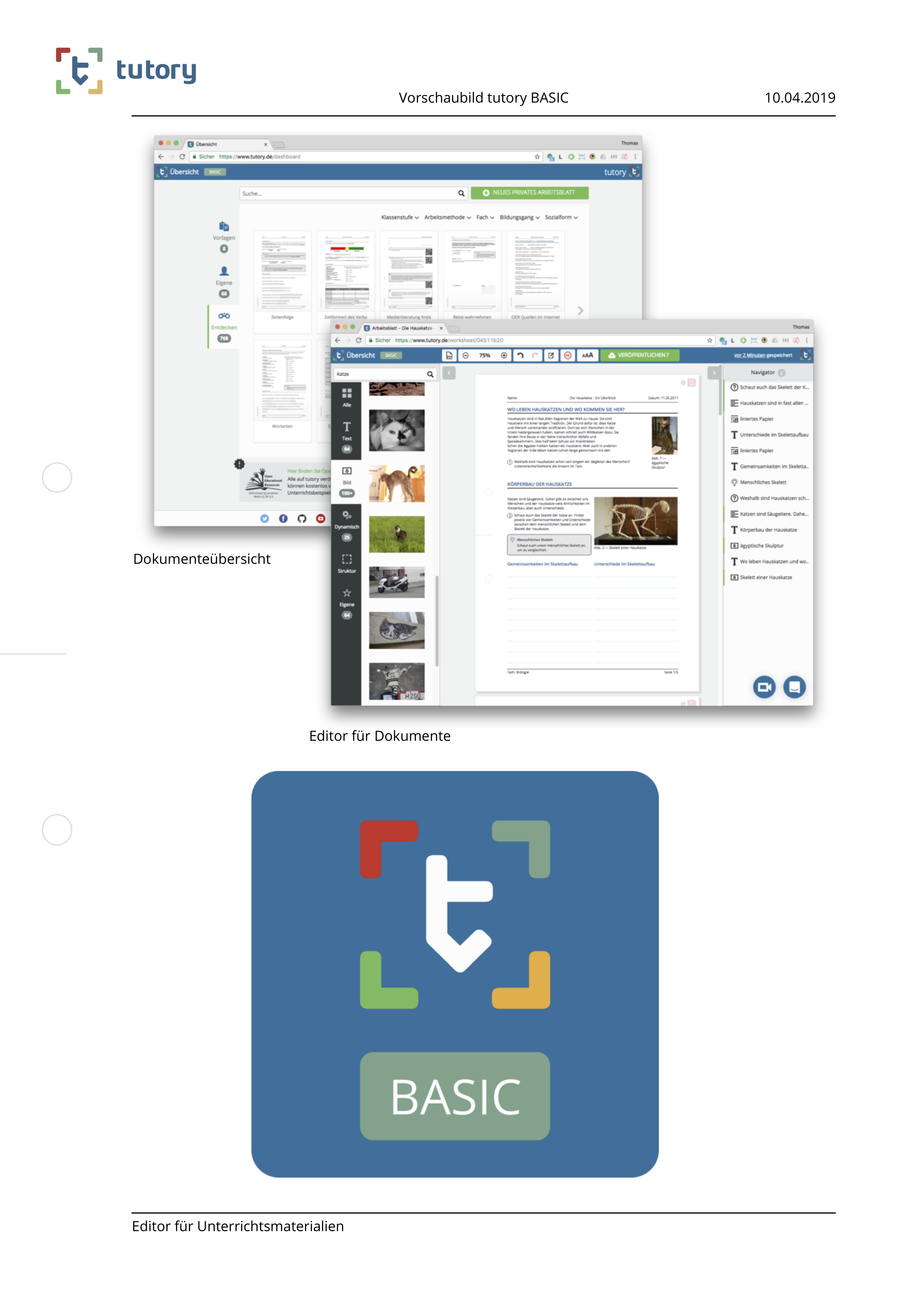 tutory BASIC   Arbeitsblätter online erstellen