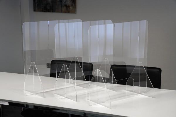 Set Hygiene-Schutzwand Standard M für Tische, mit Durchreiche, 3 Stück