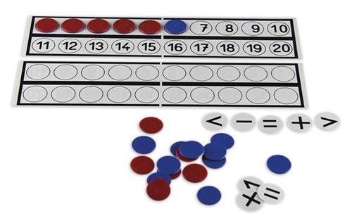 Rechenleisten/Plättchen-Set bis 20, 33-tlg.