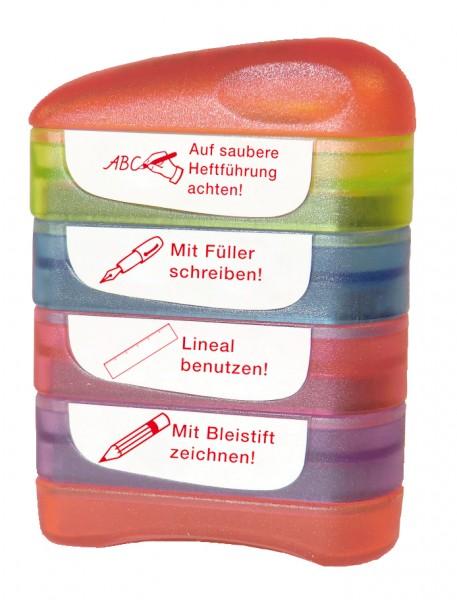 """Siebdruck-Stempel """"Perpetuum"""", 4 in 1, """"Auf saubere Heftführung..."""""""