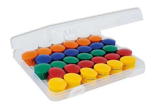 Set Haft-Magnete 21 mm ø in Box, 72-tlg.